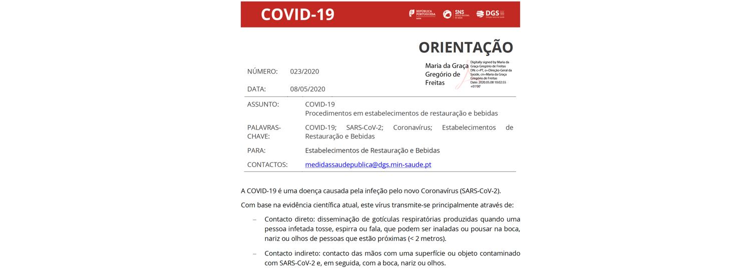 Orientação 023/2020 – Procedimentos em estabelecimentos de restauração e bebidas